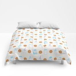 Milk and Cookies Pattern on Cream Comforters