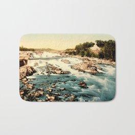 Vintage Rocky Waterfall. Creek Landscape Photo Bath Mat