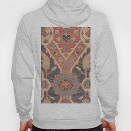 Geometric Leaves IV // 18th Century Distressed Red Blue Green Colorful Ornate Accent Rug Pattern Hoody