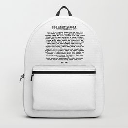 Ending of The Great Gatsby - Fitzgerald quote Backpack