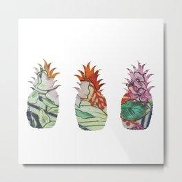 3 pineapples fabric Metal Print