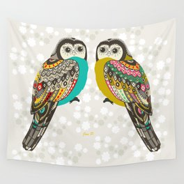 Facing owls Wall Tapestry
