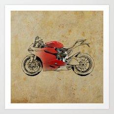 Ducati 1199 Panigale - Original drawing | gift for men and bikers Art Print