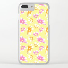 Bright Yellow Watercolor-Style Cosmos Floral Clear iPhone Case