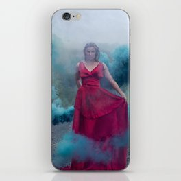 Beautiful, young and sexy female vampire style in a red dress with smoke outdoors. iPhone Skin
