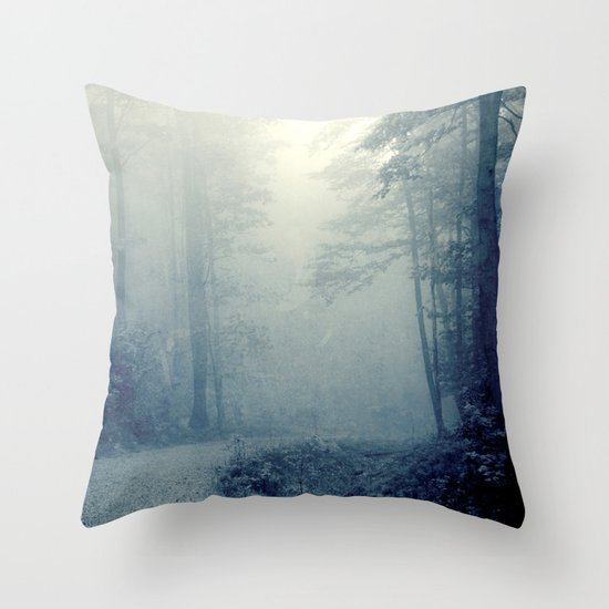 Wander in a Woodland Fog Throw Pillow