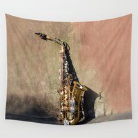 saxophone Wall Tapestries featuring New Orleans French Quarter Saxophone by James Gaffney Photography