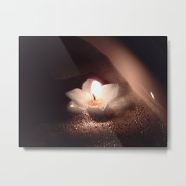 Floating Candle Light Metal Print
