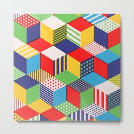 Colors and Cubes Metal Print