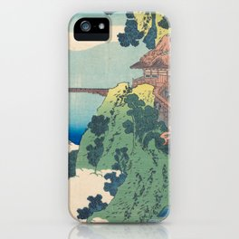 Katsushika Hokusai - The Hanging-cloud Bridge at Mount Gyodo iPhone Case