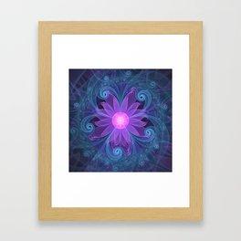 Blown Glass Flower of an ElectricBlue Fractal Iris Framed Art Print
