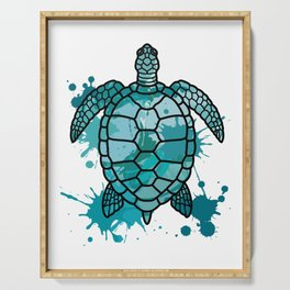Colored Sea Turtle | Artistic Paint Splotches Serving Tray
