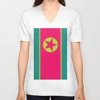 korea V-neck T-shirts featuring Neon Nation NORTH KOREA by T.K.O.