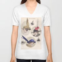 hats V-neck T-shirts featuring Chapeaux/Hats by Kathead Tarot/David Rivera