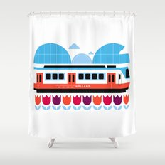Postcards from Amsterdam / Train and Tulips Shower Curtain