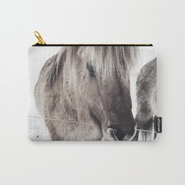 snowy Icelandic horse bw Carry-All Pouch