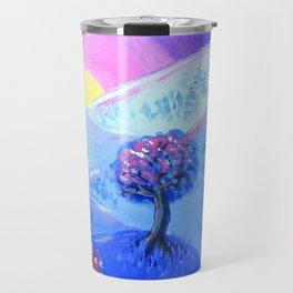 Blue Acrylic Mountain Sunset Landscape Painting Travel Mug