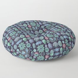 Ernst Haeckel Ascidiae Sea Squirts Teal on Purple Floor Pillow