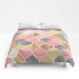Silver Grey, Soft Pink, Wood & Gold Moroccan Pattern Comforters
