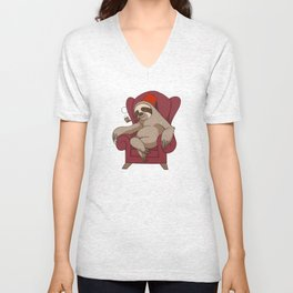 Sophisticated Sloth Unisex V-Neck