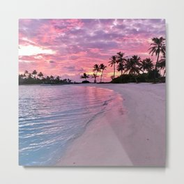 SUNSET AND PALM TREES Metal Print