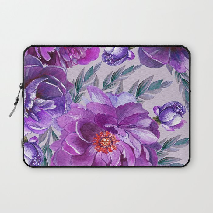 Violet and Purple Flowers Laptop Sleeve