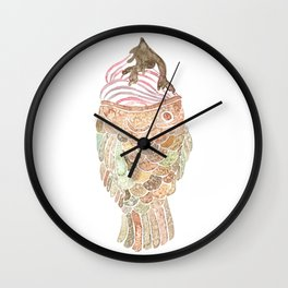 Watercolor Taiyaki Ice Cream Fish Wall Clock