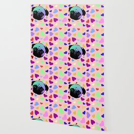 Pug Puppy Dog Love Hearts Pattern Wallpaper