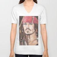 jack sparrow V-neck T-shirts featuring Captain Jack Sparrow by JadeJonesArt
