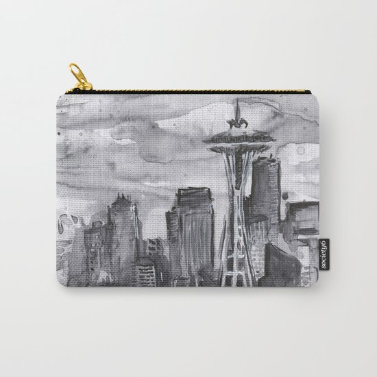 Seattle Skyline Watercolor Space Needle Washington PNW Carry-All Pouch