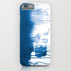 Paint 1 - indigo blue drip abstract painting modern minimal trendy home decor dorm college art iPhone 6s Slim Case