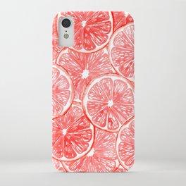 Watercolor grapefruit slices pattern iPhone Case