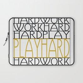 Work Hard, Play Hard - Black, Yellow - Saying, Quote - Typography Laptop Sleeve