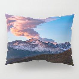 Fire on the Mountain - Sunrise Illuminates Cloud Over Longs Peak in Colorado Pillow Sham