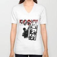 saga V-neck T-shirts featuring Rocky Saga by The Black Lodge
