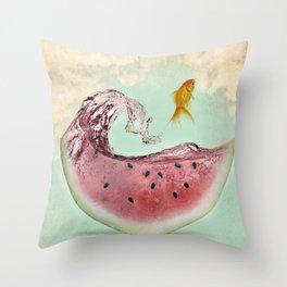 watermelon goldfish 02 Throw Pillow