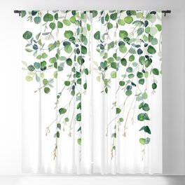 Eucalyptus Watercolor Blackout Curtain