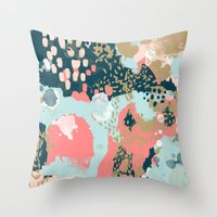 college Throw Pillows featuring Eisley - Modern fresh abstract painting in bright colors perfect for trendy girls decor college by CharlotteWinter