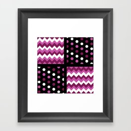 Black/Two-Tone Mulberry/White Chevron/Polkadot Framed Art Print