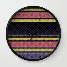 Black, blue, yellow, pink stripes . Wall Clock