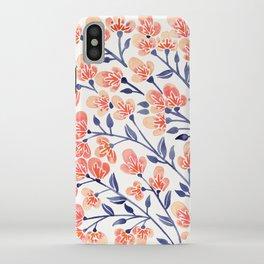 Cherry Blossoms – Peach & Navy Palette iPhone Case