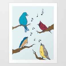 Four Calling Birds Art Print