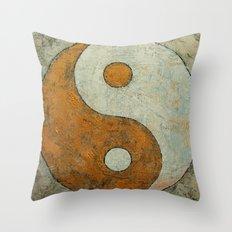 Gold Yin Yang Throw Pillow