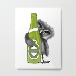 owl with Beer Metal Print