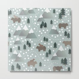 Bears in the Mountains Metal Print