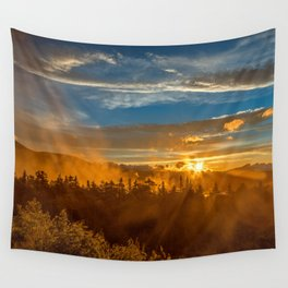 Misty Gold Mountain Sunset Wall Tapestry