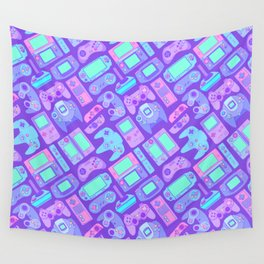 Video Game Controllers in Cool Colors Wall Tapestry