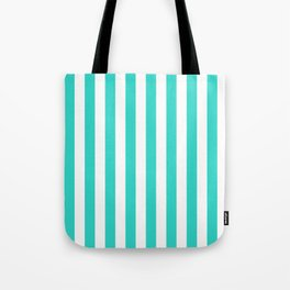 Narrow Vertical Stripes - White and Turquoise Tote Bag