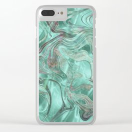 Mint Gem Green Marble Swirl Clear iPhone Case