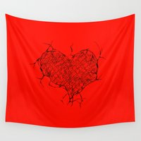 cracked Wall Tapestries featuring Cracked Heart by Vee D Alexx